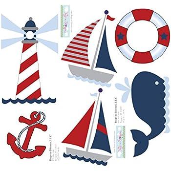Amazon Com Growth Chart Nautical Ocean Boat Whale Anchor