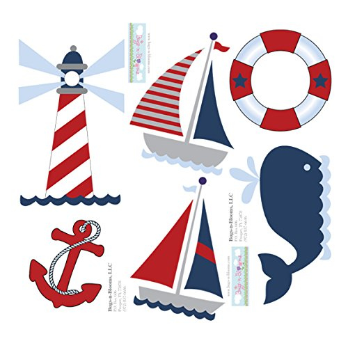 Nautical Decal Stickers Red White Blue Boy Wall Graphics Sailing Ocean Vinyl Mural Sticker Decals Childrens Nursery Baby Room Decor Boys Bedroom Walls Decorations Boat Whale Light House Childs (Sailboat Wall Stickers)