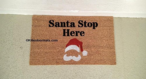 Santa Stop Here Custom Handpainted Holiday Seasonal Welcome Doormat by Killer Doormats - Large