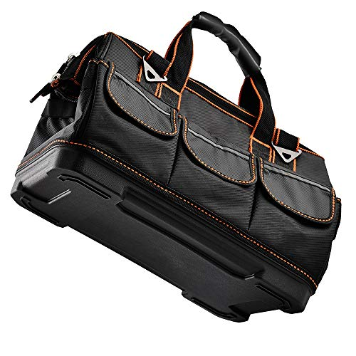 Tool Bags with Water Proof Molded Base,Wide Mouth,Single-Shoulder Tool Storage and Organizers Box 16 Inch 17 Pockets
