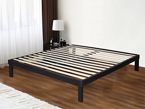 SLEEPLACE 14 Inch Dura Metal Wood Slate Bed Frame 14BF03 (Queen)