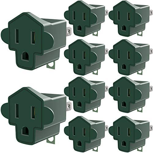 51Au%2BtoFWAL. AC 3 Prong to 2 Prong Grounding Adapter Wall Outlet Converter, JACKYLED 2 Prong Power Adapter Fireproof Material 200℃ Resistant Heavy Duty for Household, Electrical, Indoor Use Only, Dark Green, 10 Pack    Product Description