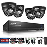 Sannce 8CH 960H CCTV DVR Recorder with 4x 800TVL Outdoor Fixed Dome Cameras System with IP66 Weatherproof Day/Night Vision, Motion Detection & Email Alert