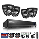 Sannce 8CH 960H CCTV DVR with 4 900TVL Weatherproof Super Night Vision Indoor & Outdoor Security Camera System, P2P & QR Code Scan Remote Access, No Hard Drive