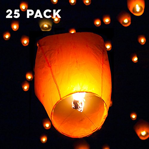 Felji-White-Paper-Chinese-Lanterns-Sky-Fly-Candle-Lamp-for-Wish-Party-Wedding-25-Pack