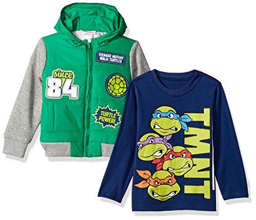 Nickelodeon Little Boys' 2 Piece Ninja Turtles Sherpa Jacket Set with Tee, Green, 5