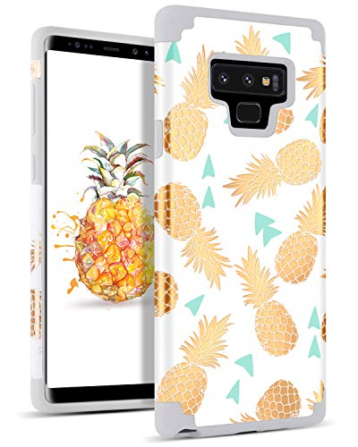 DOMAVER Case for Galaxy Note 9 Case Pineapple, Note 9 Shockproof 2 in 1 Hybrid Hard PC Soft Rubber Pineapple Floral Cute Women Style Protective Phone Case for Samsung Galaxy Note 9, White/Gray