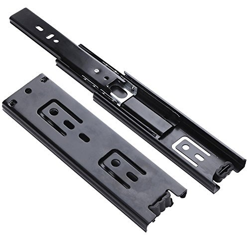 Whitelotous 2 PCS 6inch Undermount Drawer Slides Tracker Cupboard Keyboard Runners Guide Rails Furniture Hardware 3 Sections