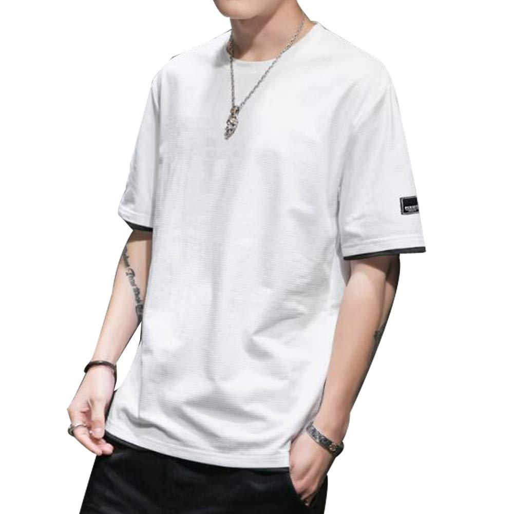 YIOHYHD Tシャツ メンズ 半袖 夏 カジュアル トップス 大きい サイズ ゆったり 大きい サイズ 無地 Tシャツ