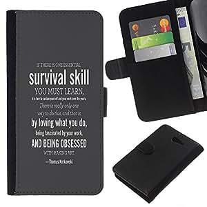 YiPhone /// Tirón de la caja Cartera de cuero con ranuras para tarjetas - SUPERVIVENCIA HABILIDAD - Sony Xperia M2