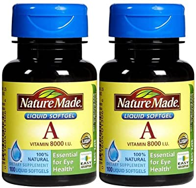 Nature Made Vitamin A 2,400 mcg (8,000 IU), 100 Softgels (Pack of 2)