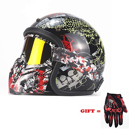 Adult Retro Harley Motorcycle Helmet Open Face 3/4 DOT Wholesale Men and Women Long King Print Motorcycle Helmet Detachable Sun Visor Mask Lined with Goggles Mask - Gloves Print Lined