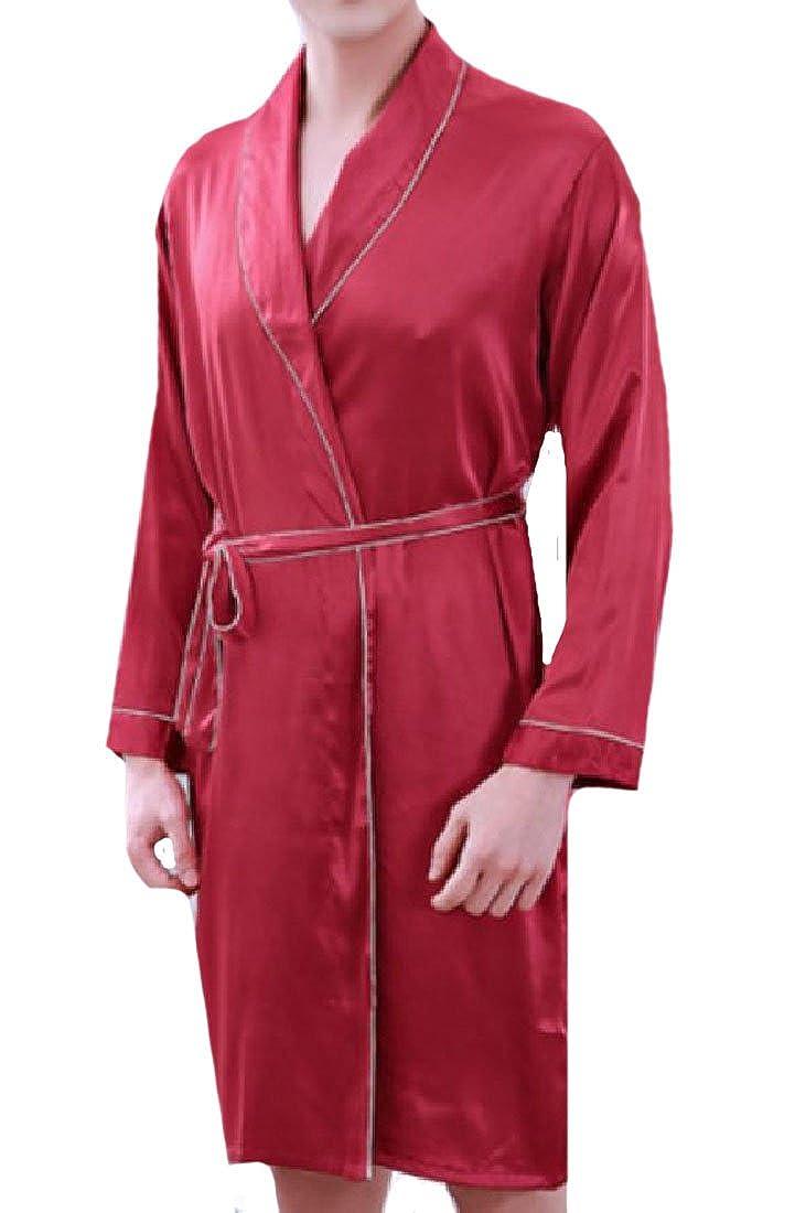 Zago Men Smooth Plus Size Charmeuse Tie Waist Loungewear Bathrobe