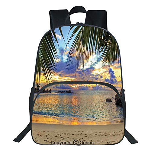 Oobon Kids Toddler School Waterproof 3D Cartoon Backpack, Sunset at Beach Rumbling Ocean Luxurious Resort With Palm Trees Travel Locations Picture, Fits 14 Inch ()