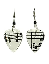 Black & White Music Notes Guitar Pick Dangle Earrings (GP042)