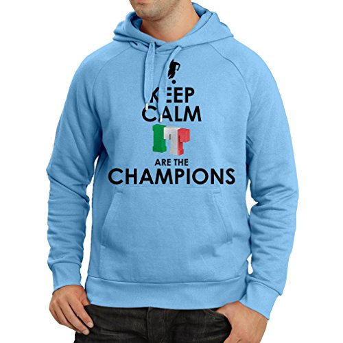 fan products of N4465H Hoodie Keep Calm, Italians are the Champions (Medium Blue Multicolor)