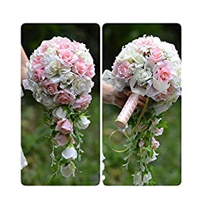 WodCht Beautiful Pink White Artificial Flowers Waterfall Wedding Bouquets with Bridal Brooch Bouquets Brides Bouquet 79