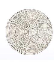 Placemats Set van 6 antislip hittebestendig katoen linnen ronde katoen weven ronde placemat anti-warme kop pad for eetkeuken tafel (Color : B, Size : 6pack)