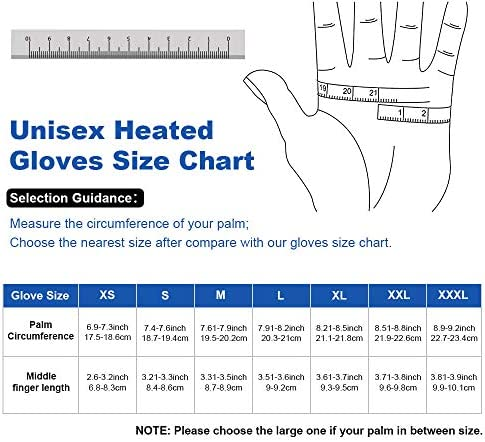 Electric Heated Gloves for Men & Women, Waterproof & Windproof Ski Gloves Rechargeable Battery Gloves with Touchscreen Three Heat Settings Thermal Gloves for Cold Weather Snowboarding Shovel Snow