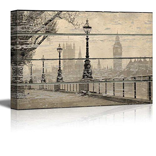 wall26 - Canvas Wall Art - London Landscape on Vintage Wood Textured Background - Rustic Country Style Modern Giclee Print Gallery Wrap Home Decor Ready to Hang - 16