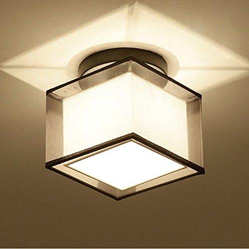 unt Ceiling Lights, Black Paint Finish, Fabric Shade Pendant Light Fixture (Square Shade) (Black Finish Brushed Finish)