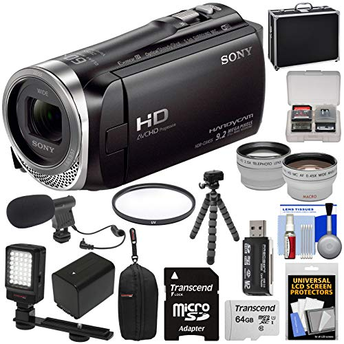 Sony Handycam HDR-CX455 8GB Wi-Fi HD Video Camera Camcorder with 64GB Card + Battery + 2 Cases + Flex Tripod + Video Light + Mic + Tele/Wide Lens Kit