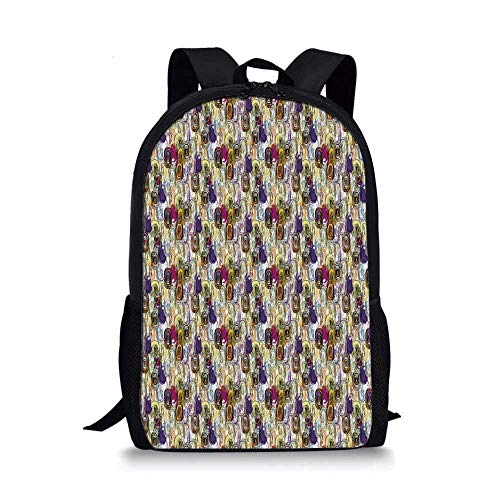 - Abstract Stylish School Bag,Brush Strokes Paint Splashes Oval Shapes and Circles Grungy Expressionist Artwork Decorative for Boys,11''L x 5''W x 17''H
