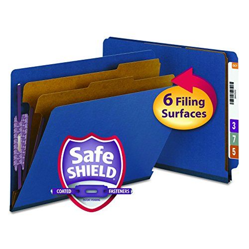 "Smead End Tab Pressboard Classification File Folder with SafeSHIELD Fasteners, 2 Dividers, 2"" Expansion, Letter Size, Dark Blue, 10 per Box (26784)"