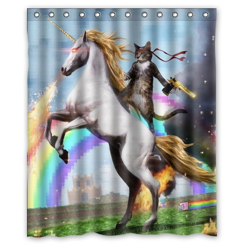 Custom Waterproof Bathroom Cat Ride The Horse With Gun Shower Curtain Polyester Fabric 60