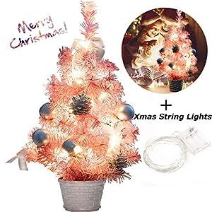B bangcool Pink Christmas Tree Mini Christmas Tree with String Lights Artificial Christmas Tree for Table and Desk Tops 18