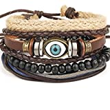 Edtoy Imitation Leather Eye-shaped Unisex Bracelet with Wooden Beads Black and Brown Reviews