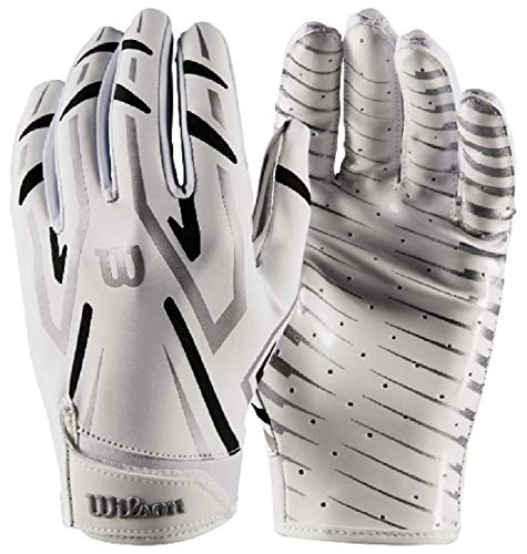 Wilson White Adult MVP Clutch Skill Football Running Back Receiver Gloves, XL