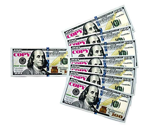 8089592079 Play Money Prop New 100 Dollar Bills Toy Cash Pretend - Total $10,000 Full  Print Copy Money for Games and Education