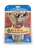 Melissa & Doug Stir and Serve Cooking Utensils (7 pcs) - Stainless Steel and Wood