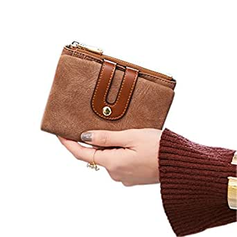 Women's Rfid Small Bifold Leather Wallet Ladies Mini Zipper Coin Purse id card Pocket,Slim Compact Thin (Brown)