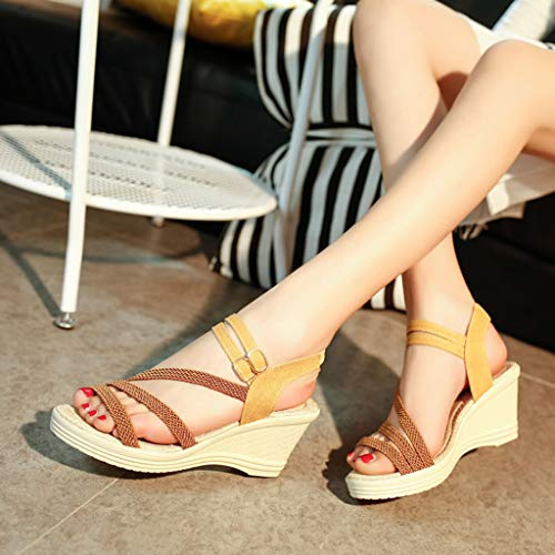 Huazi2 Women's Fashion Casual Roma Solid Buckle Platform High Heel Shoes Wedges Sandals by Huazi2 (Image #2)