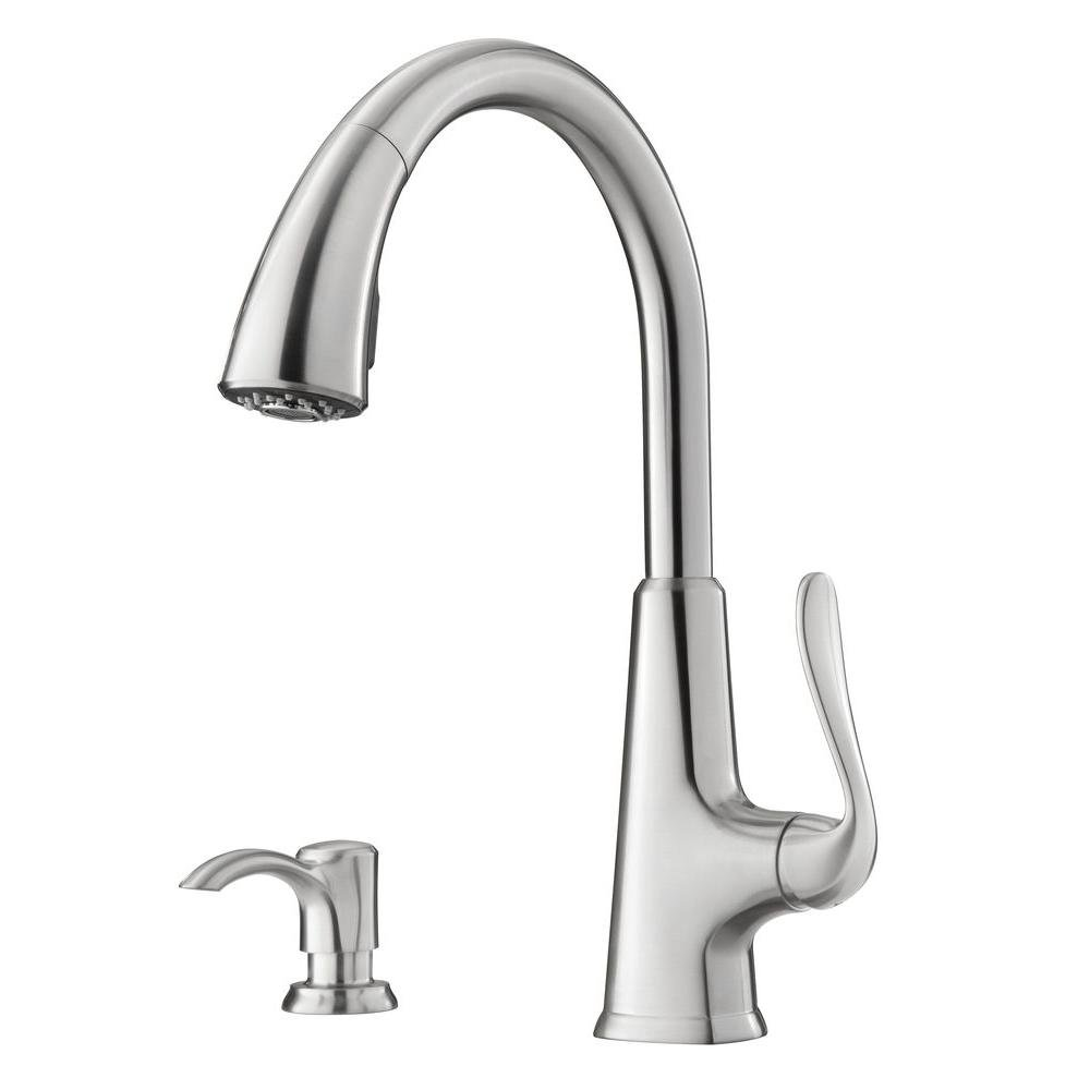 faucet pull n prive single kitchen f steel handle pfister in price faucets b sprayer out stainless
