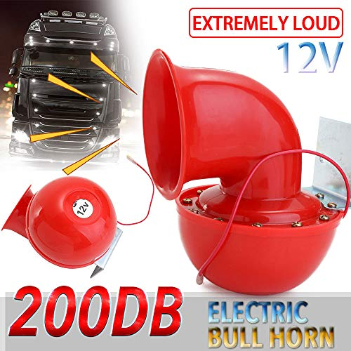 Helen-Box - Loud 200DB 12V Red Electric Bull Horn Air Horn Raging Sound For Car Motorcycle Truck Boat