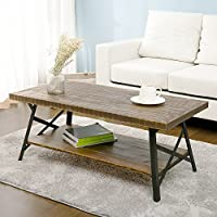 Harper&Bright Designs 43 Wood Coffee Table with Metal Legs, End Table/Living Room Set/Rustic Brown (Brown Coffee Table)