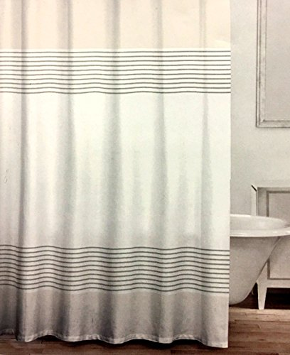CARO Home Fabric Shower Curtain Wide Light Gray White And Metallic Silver Grey Stripes Well