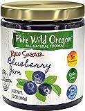 Pure Wild Oregon Raw Sugar Non-GMO Gluten-Free All-Natural Jam, Blueberry, 12 Ounce