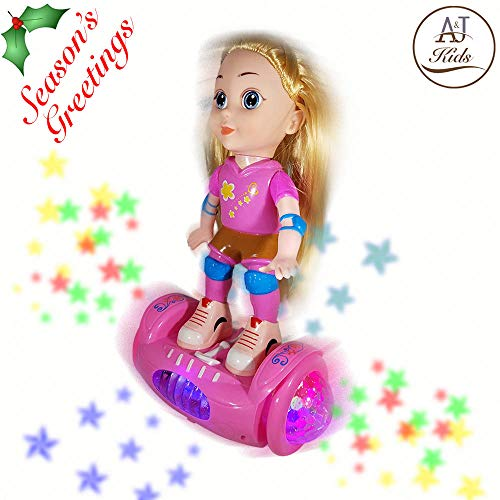 ANJ Kids New Holiday Toys - Lovely Girl Doll Toy for Kids; Battery Operated Girls Doll Riding Hover Board; Rolling, Rotating, Music and Beautiful Flashing Lights; Best Doll Toy for Girls