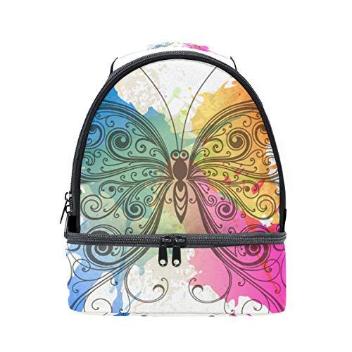 l'école pour avec Papillon Alinlo isotherme Pincnic Sac Boîte à Cooler lunch Tote réglable aquarelle à bandoulière Zxx14wAq
