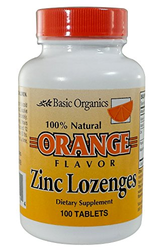Basic Organics Natural Flavor Zinc Lozenges, Orange, 100 Tablets