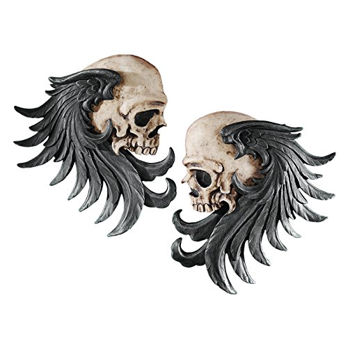 Design Toscano Bad to the Bones Winged Skull Sentinel Wall Sculptures: Set of Two