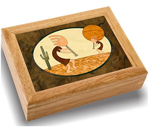 (MarqART Wood Kokopelli Box - Handmade USA - Unmatched Quality - Unique, No Two are The Same - Original Work of Wood Art. A Kokopelli Gift, Ring, Trinket or Wood Jewelry Box (#2113 Kokopelli 6x8x2))
