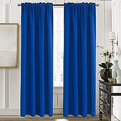 Aquazolax Back Tab/ Rod Pocket Thermal Blackout Drape Curtains for Bedroom Windows, Set of 2 Panels, W52 x L84, Royal Blue