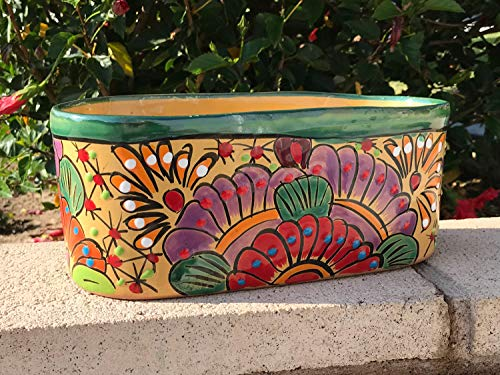 Talavera Ceramic Oval Rectangular Pot Planter 11