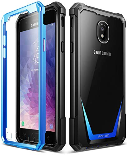 Galaxy J7 2018 Case, Poetic Guardian [Scratch Resistant Back] Full-Body Rugged Clear Hybrid Bumper Case with Built-in-Screen Protector for Samsung Galaxy J7 V/Galaxy J7 Refine (2018) Blue