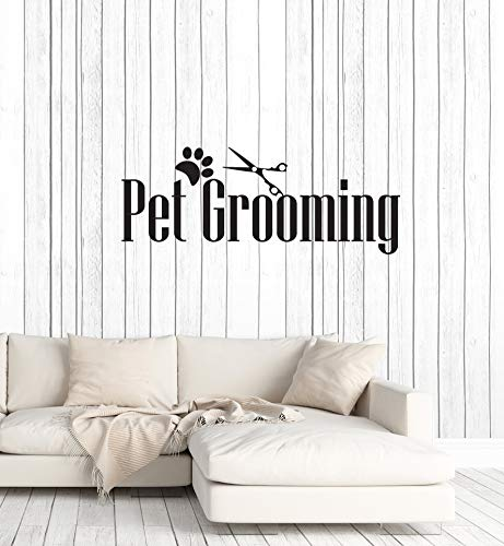 - Vinyl Wall Decal Pet Grooming Groomer Salon Animal Scissors Art Interior Stickers Mural Large Decor (ig5915) Black